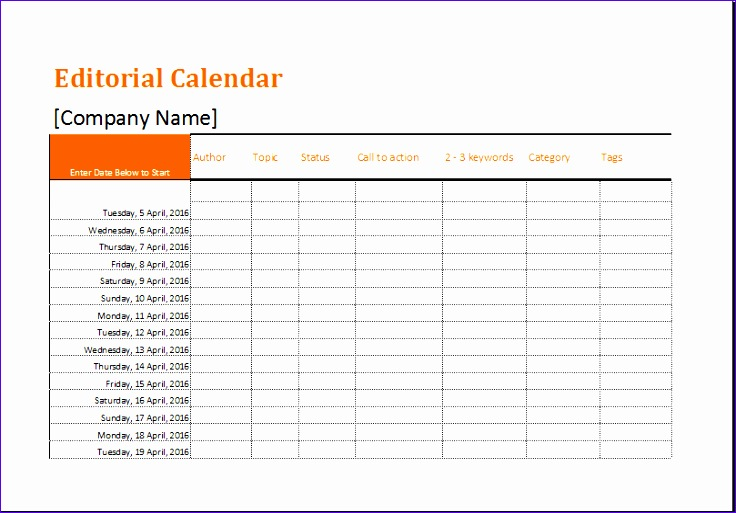 Editorial Calendar Template 6utua Beautiful Editorial Calendar Template for Ms Excel