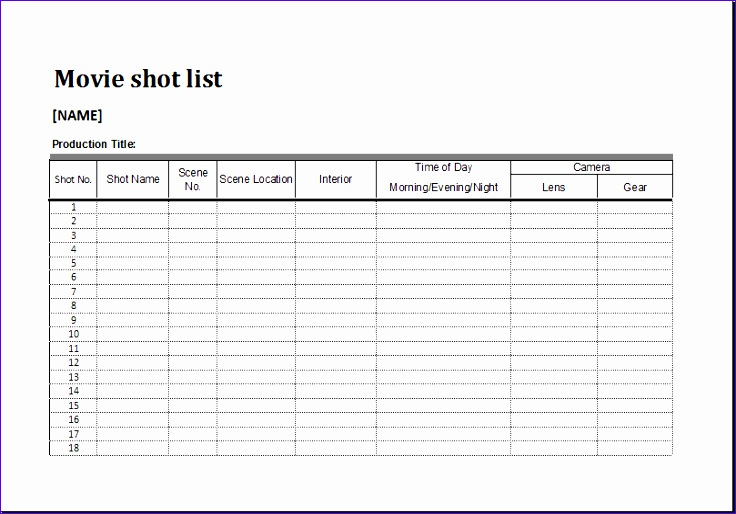 Editorial Calendar Template Snqir Fresh Movie Shot List Template for Ms Excel