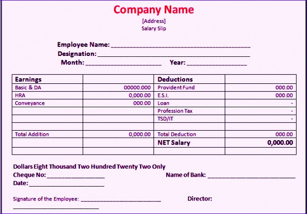 Employee Payslip Template Excel Ghrbb New Bank Salary Slip format ...