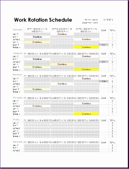 Employee Task Weekly Working Hour Record Sheet Nkyvf Unique Employee Work Rotation Schedule Template for Excel