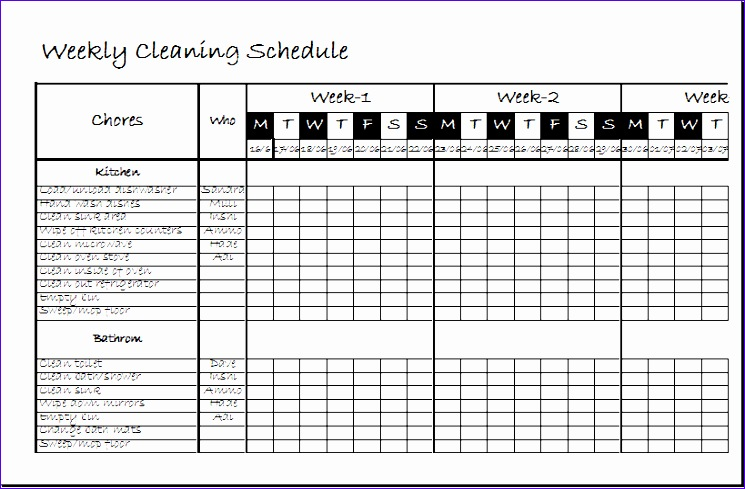 Employee Work Rotation Schedule 0ehvt Unique Weekly Clean Up Spreadsheet Template Xls