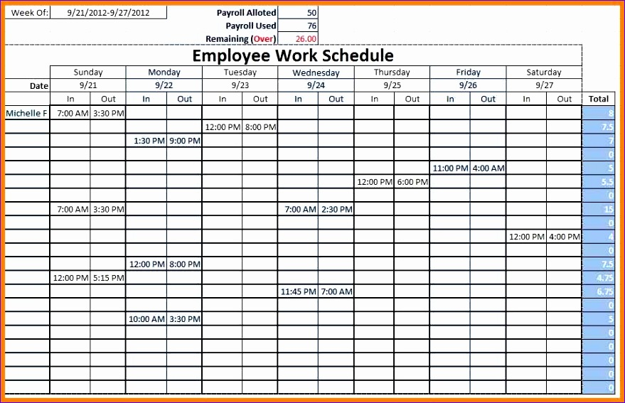 Excel Employee Work Schedule Template
