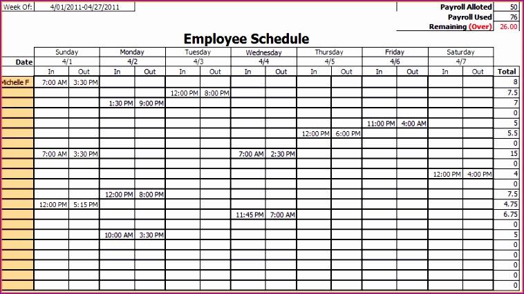 weekly work schedule template excel employee work schedule template