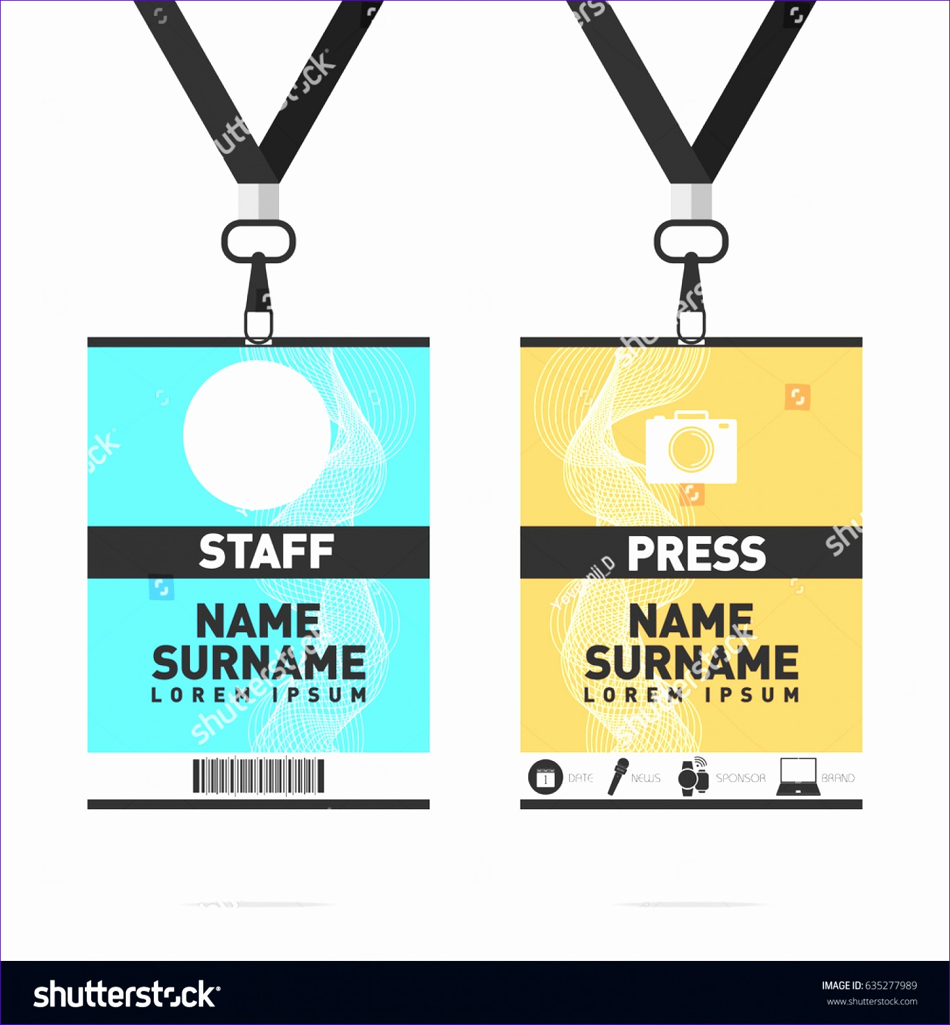 stock vector event staff and press id cards set with lanyards vector design for badge holder templates