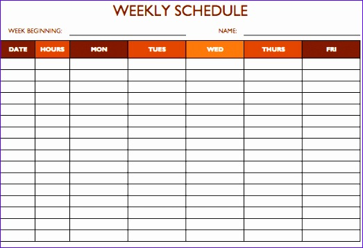 work schedule 5 days template