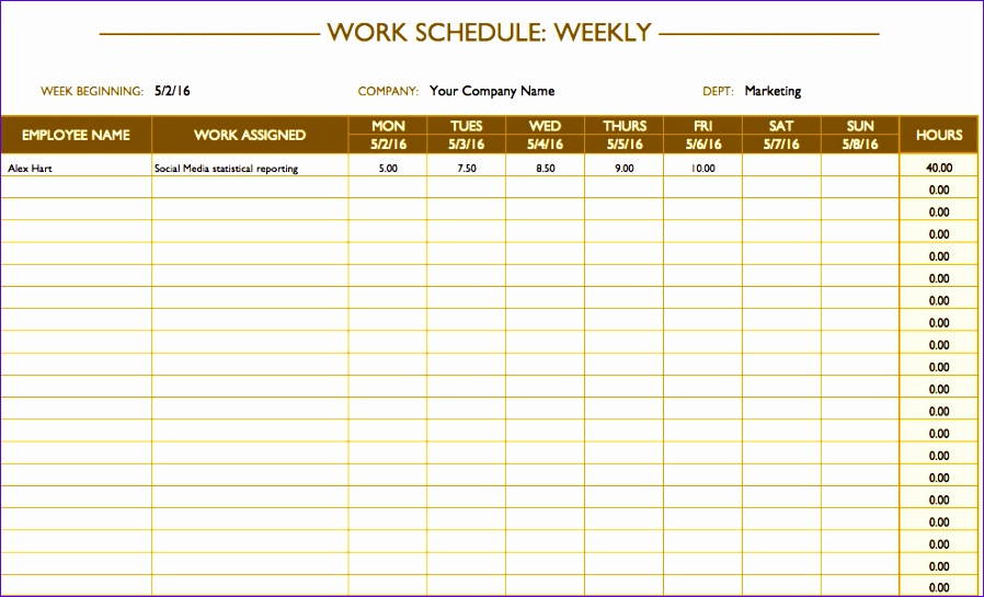 weekly work schedule