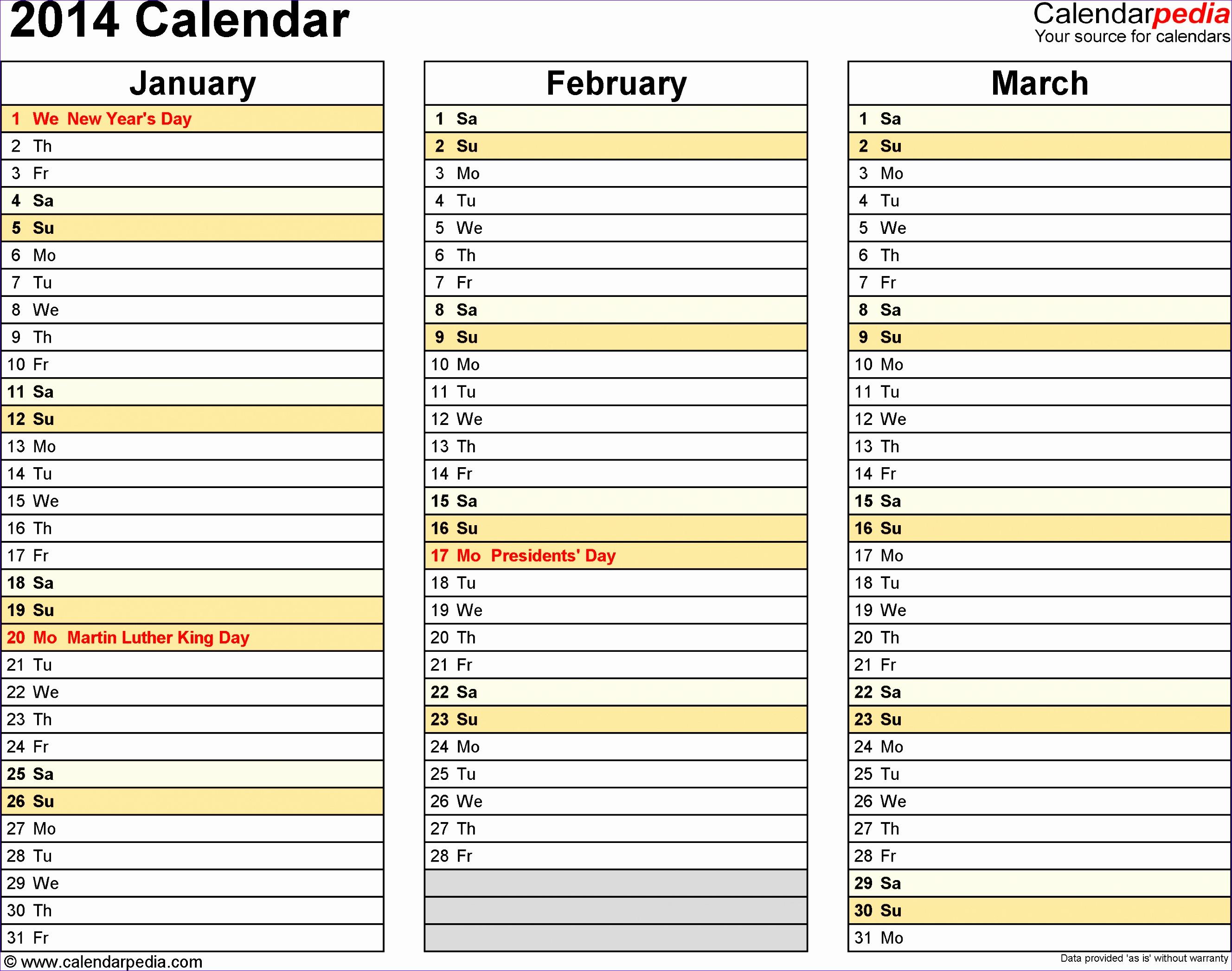 2014 calendar 4l