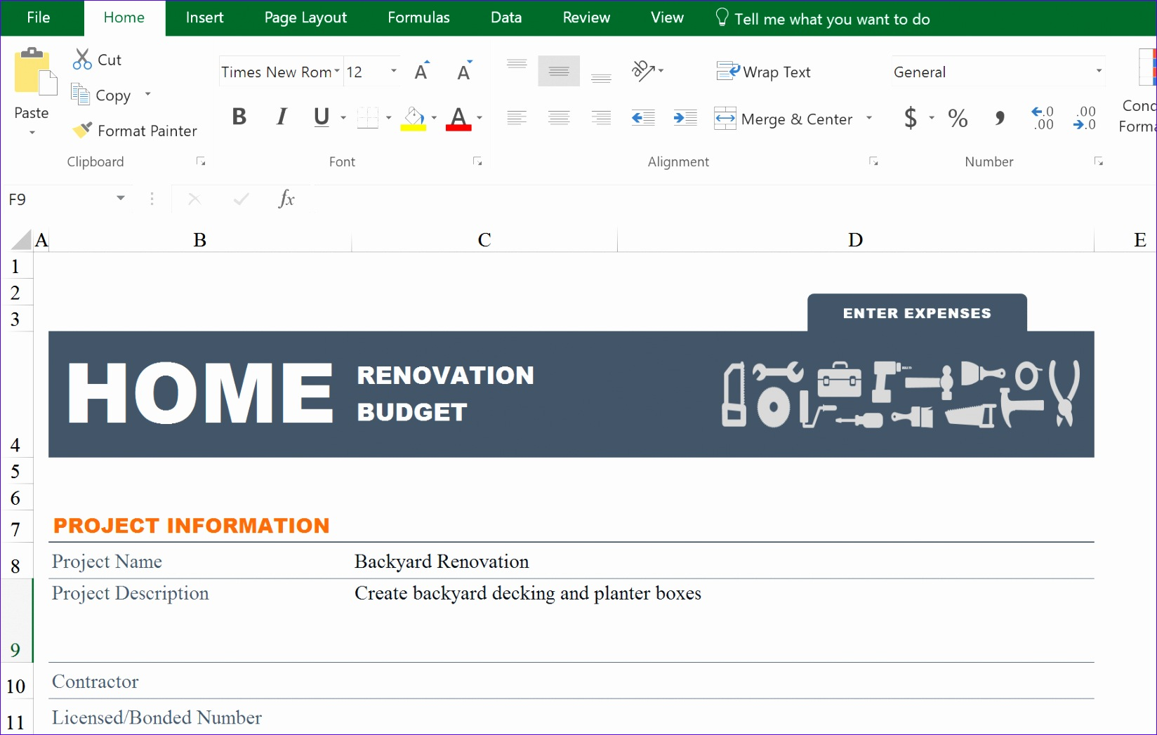 excel renovation step 3