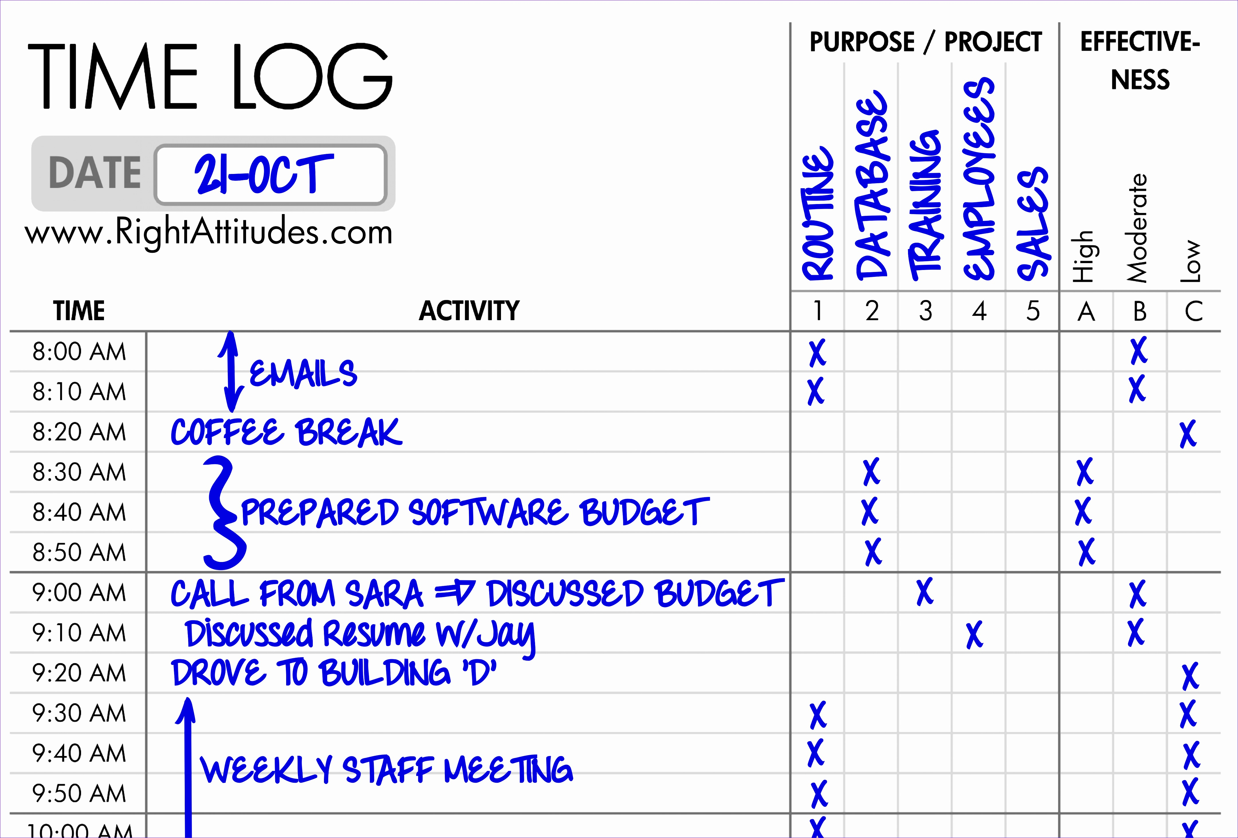 time logging form example