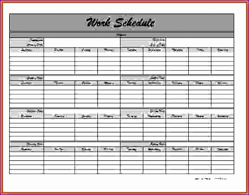 monthly schedule template mws009