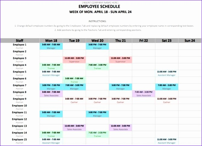 5 Excel Employee Work Schedule Template Exceltemplates