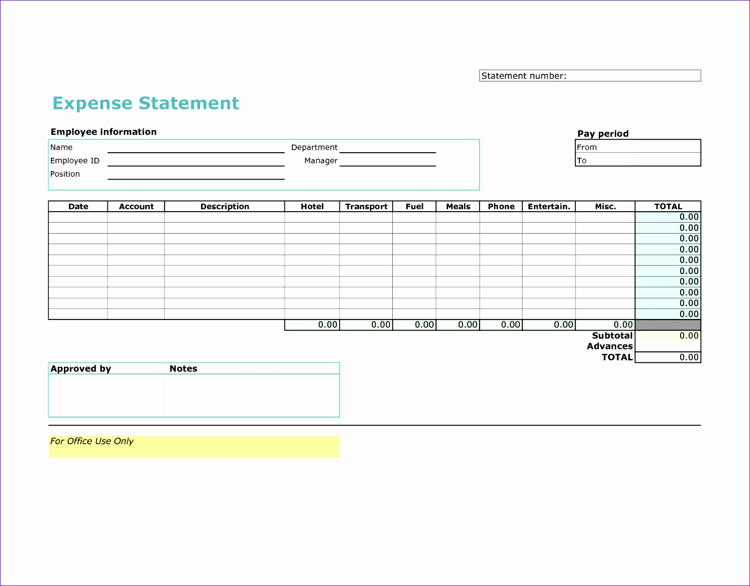 Expense Statement Template Excel