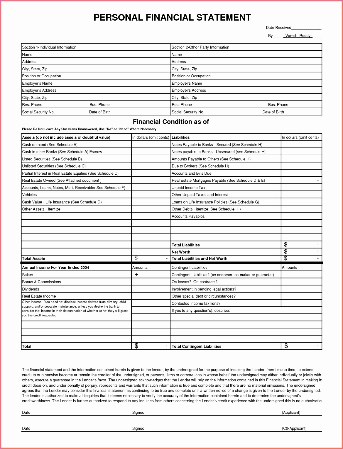 Excel Financial Statement Template Xmaac Best Of 7 Personal Financial Statement form Excel