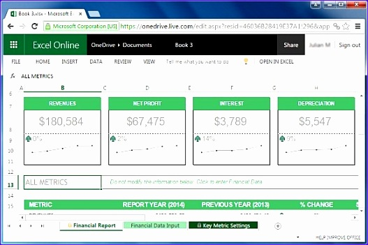 Annual financial report template for Excel