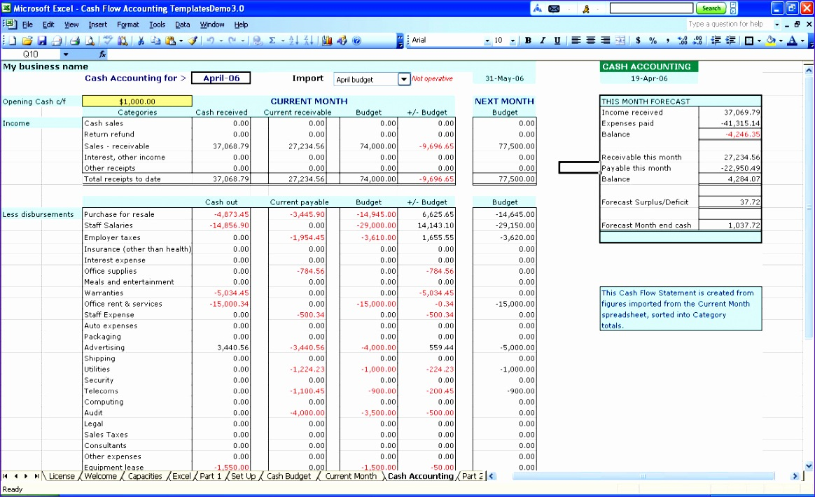 cash accounting Accounting Excel Templates