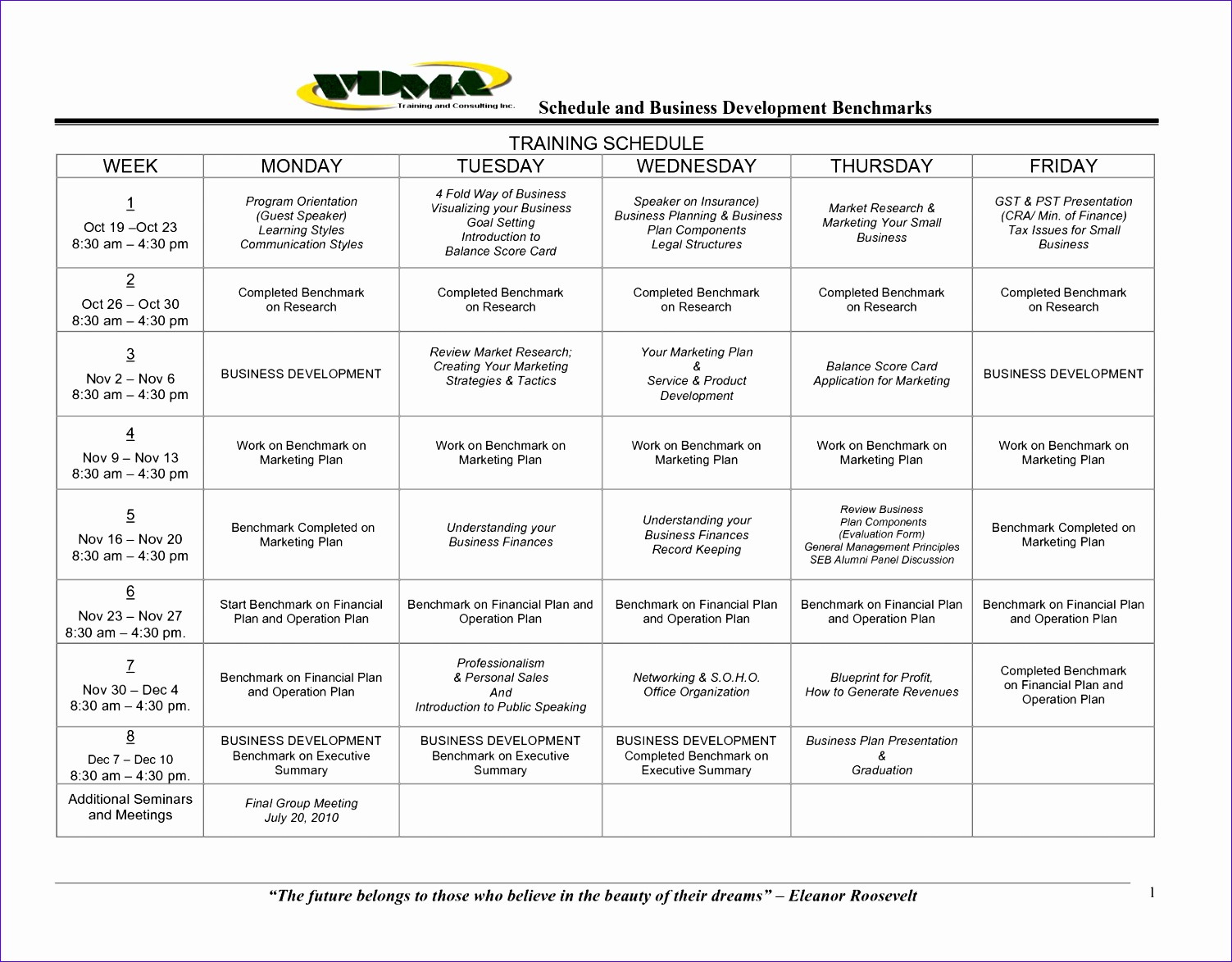 training schedule template 3