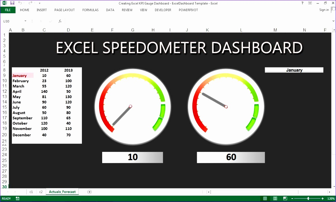 11 excel gauge chart template exceltemplates for Excel speedometer template download