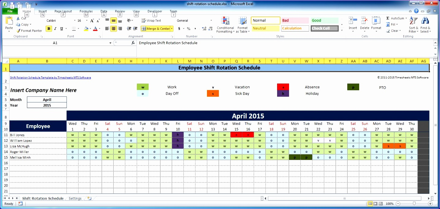 excel employee shift rotation