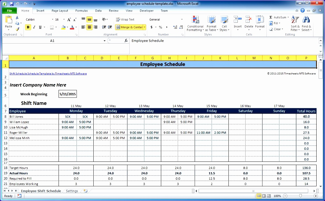 Employee Excel Template