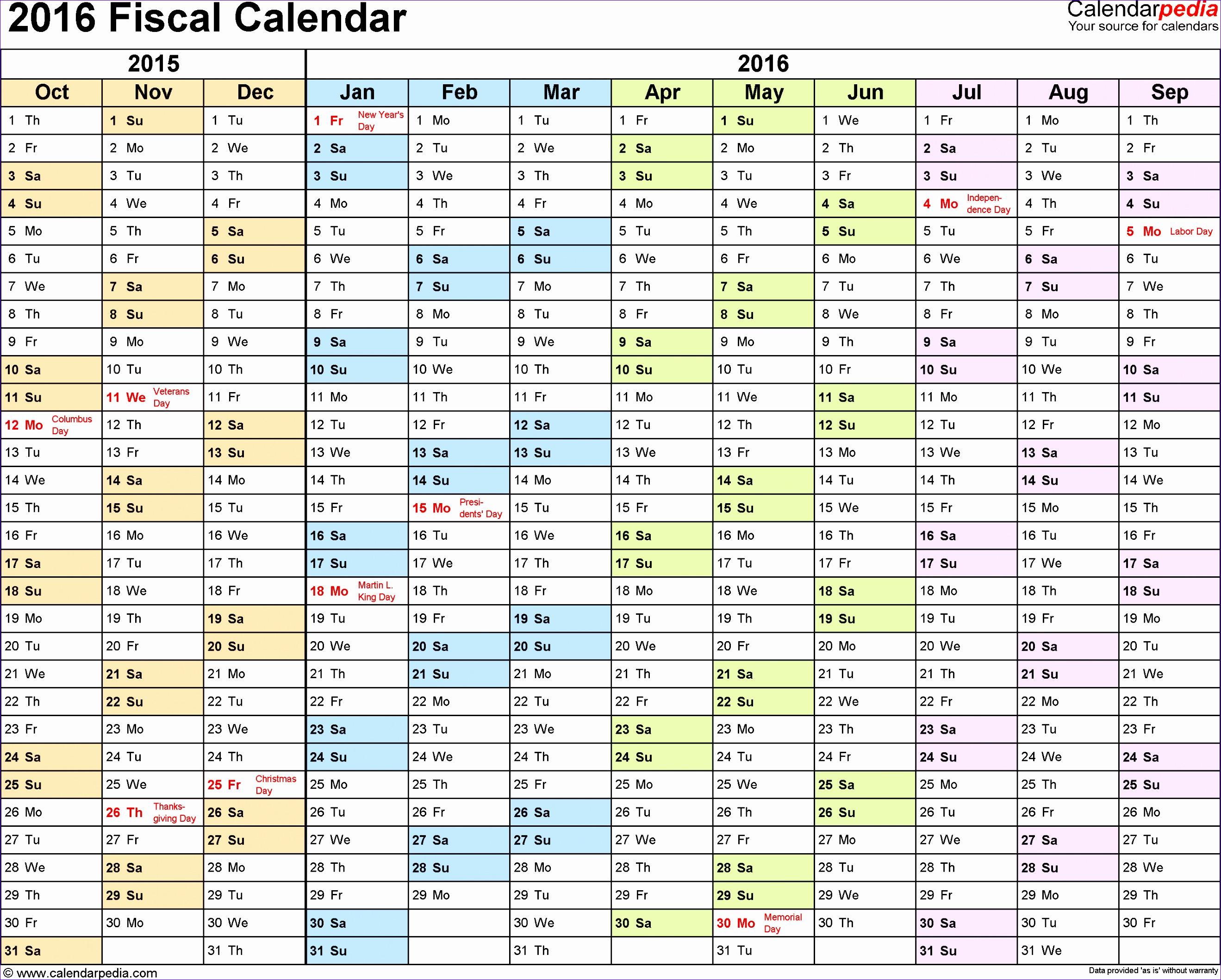 fiscal calendar 2016