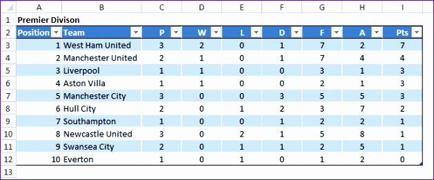 excel league table