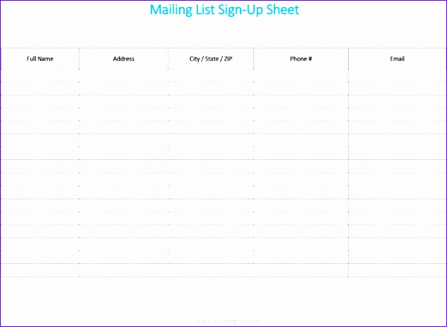 Mailing List Template for Word