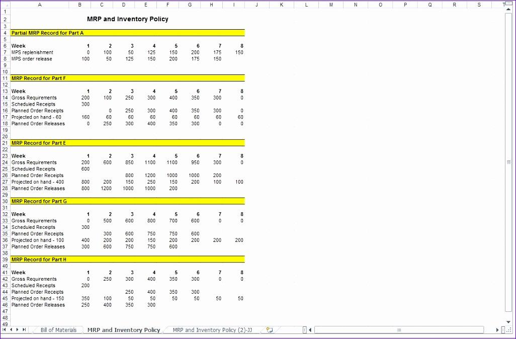 10 Excel Mrp Template Excel Templates Excel Templates