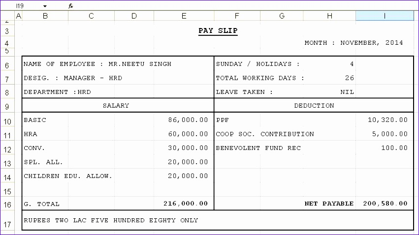 Excel Payslip Template Download Avken Fresh Salary Slip Template In Excel  Format Benefits  Payslip Excel Template