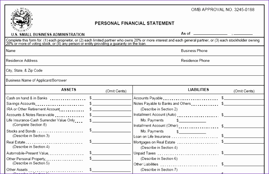 Excel Personal Financial Statement Template  Exceltemplates