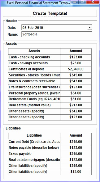 Excel Personal Financial Statement Template Software 1