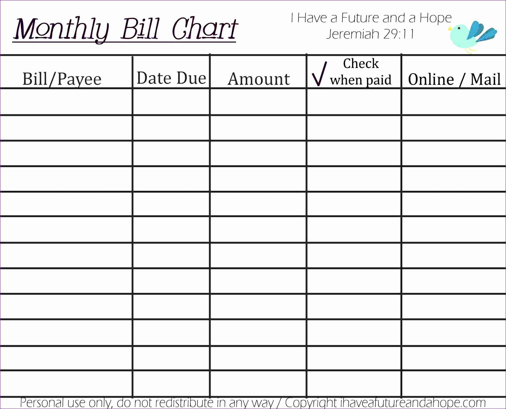 Monthly Bill Planner Excel Excel Bill Tracker Monthly Payment Tracker Template