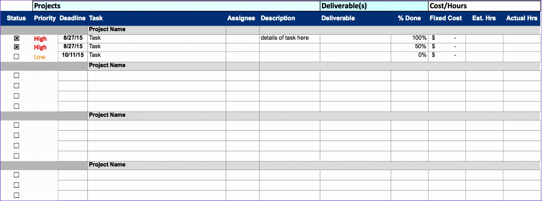 Excel Spreadsheet Templates for Tracking Vvsrg Inspirational Free Excel Project Management Templates