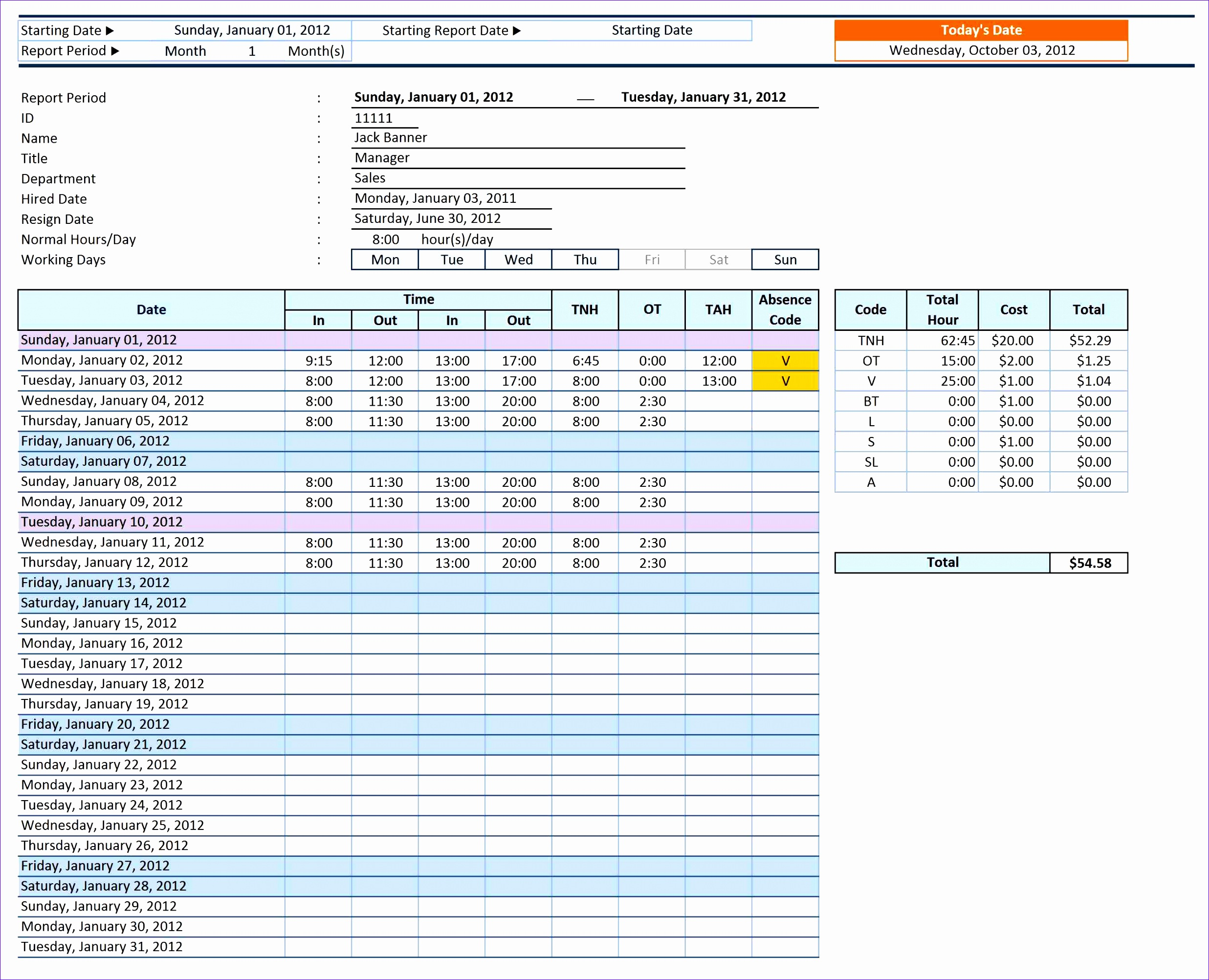Employee Time Sheet Manager Pro V1 54 report single