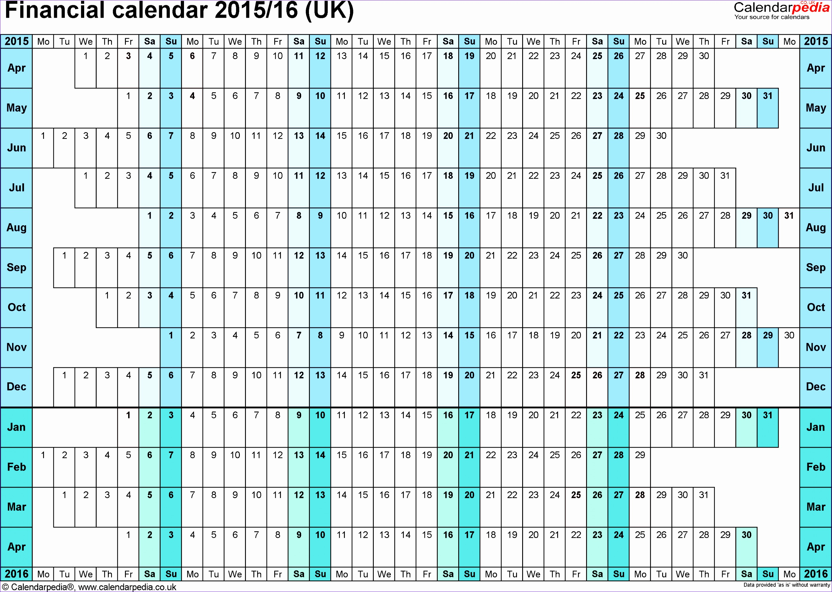 financial calendar 2015