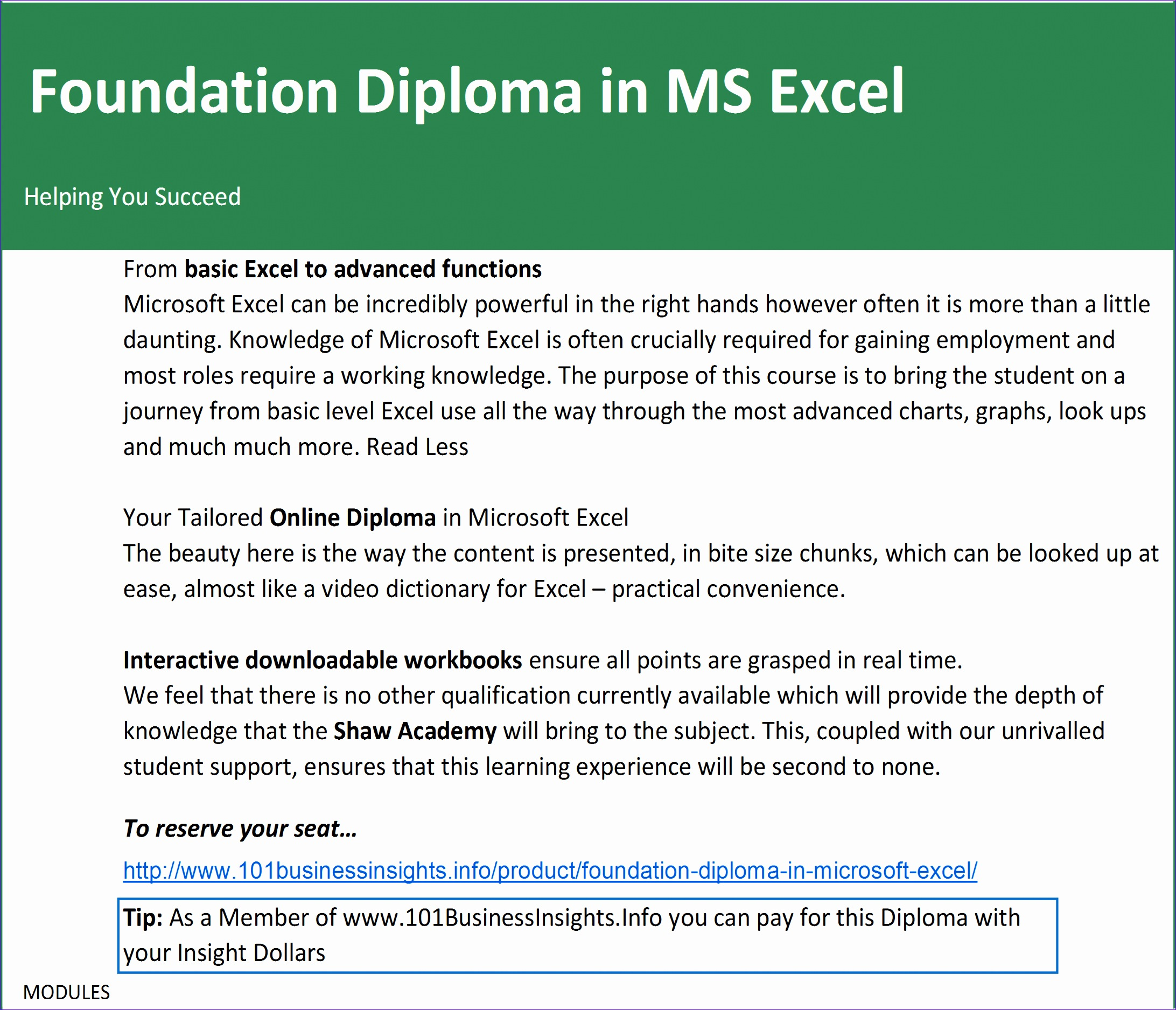 B10 Excel Diploma