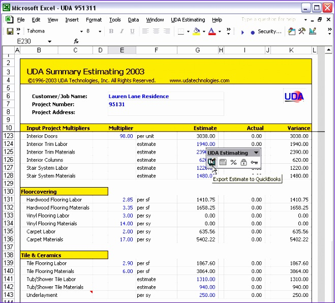 Excel Templates for Construction Estimating Koesd Elegant Uda Construction Fice 2003 Estimating Screenshots