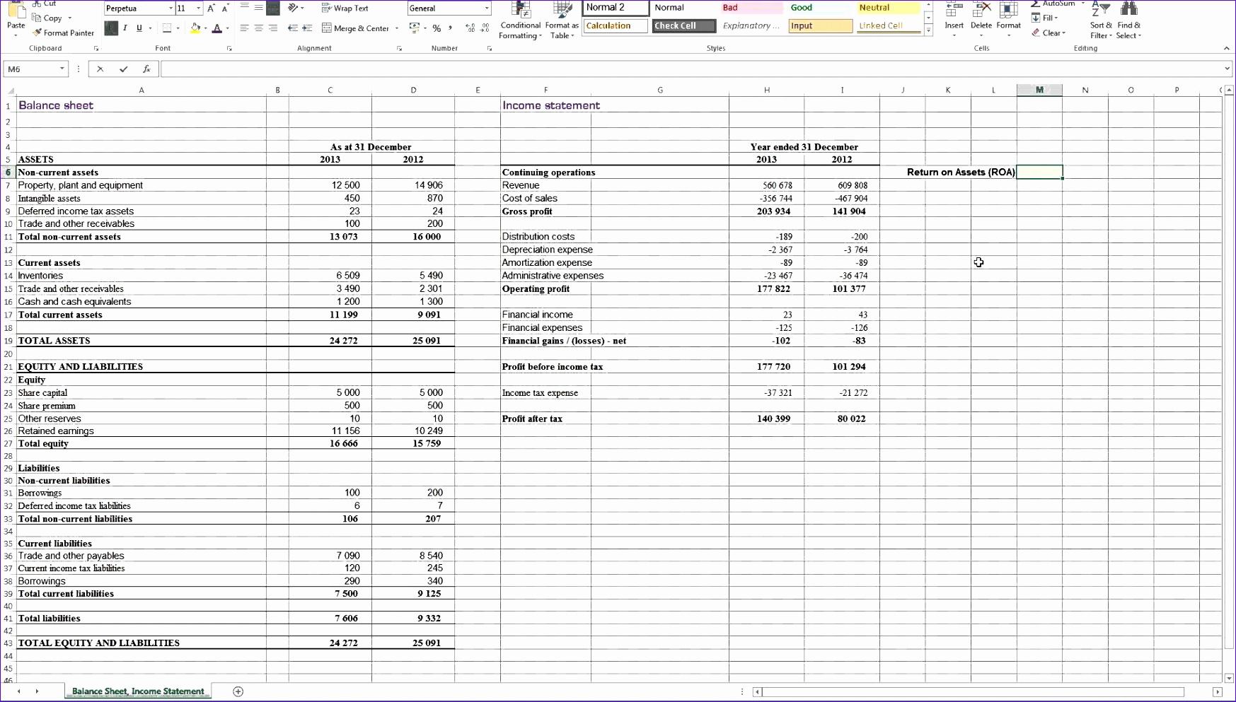 Excel Templates for Financial Statements C2kbm Beautiful Calculating Return On assets Roa In Excel