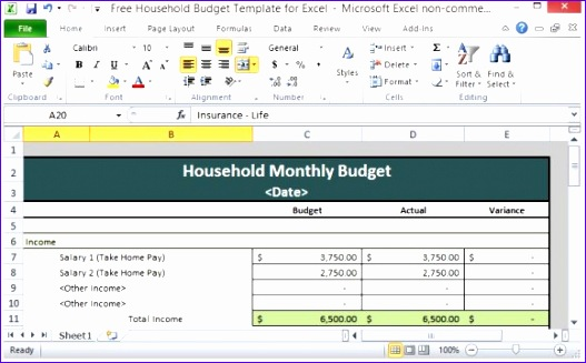 Excel Templates for Home Budget Cuuwh Luxury Free Household Bud Template for Excel
