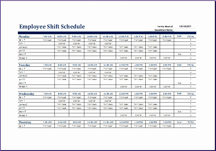 Excel Templates for Scheduling Employees Hjeyx Unique Free Employee ...