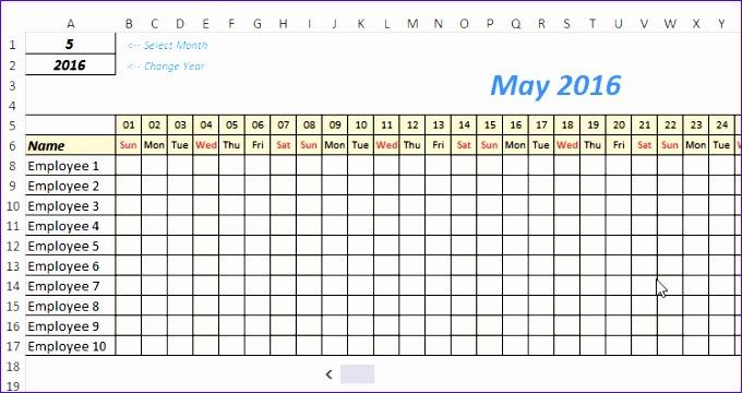 Excel Leave Tracker Change Month