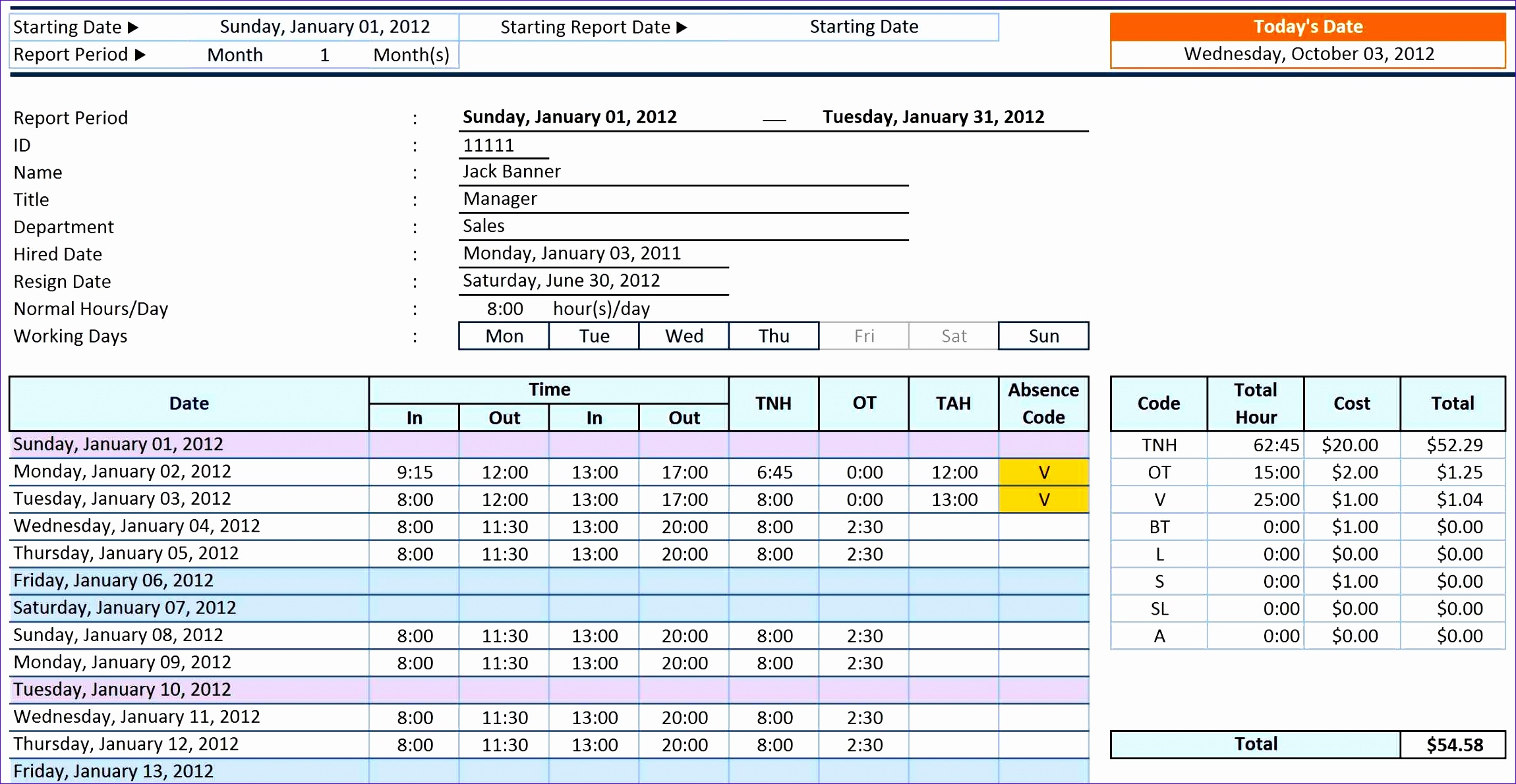 6 excel timesheet calculator template
