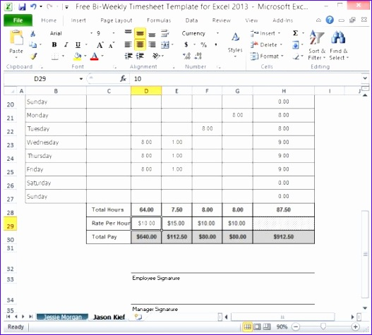 Timesheet Template Can Be Used for Multiple Employees 580x517