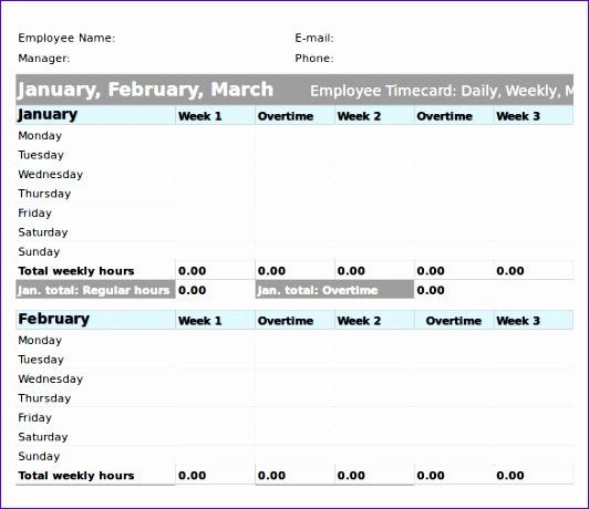 Microsoft Excel Yearly TimeSheet Template Download