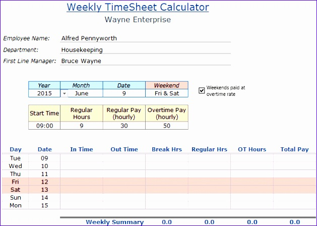 Employee Timesheet Calculator Template in Excel Demo 1