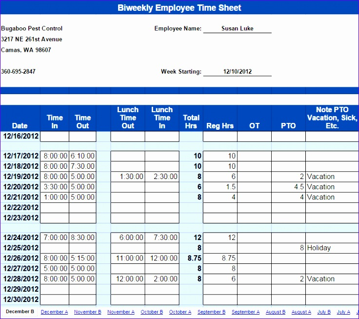 Interesting biweekly timesheet template with time in and out lunch time rugular hours and overtime hours