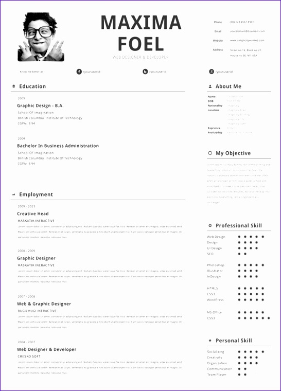 11 excellent cv templates free - exceltemplates