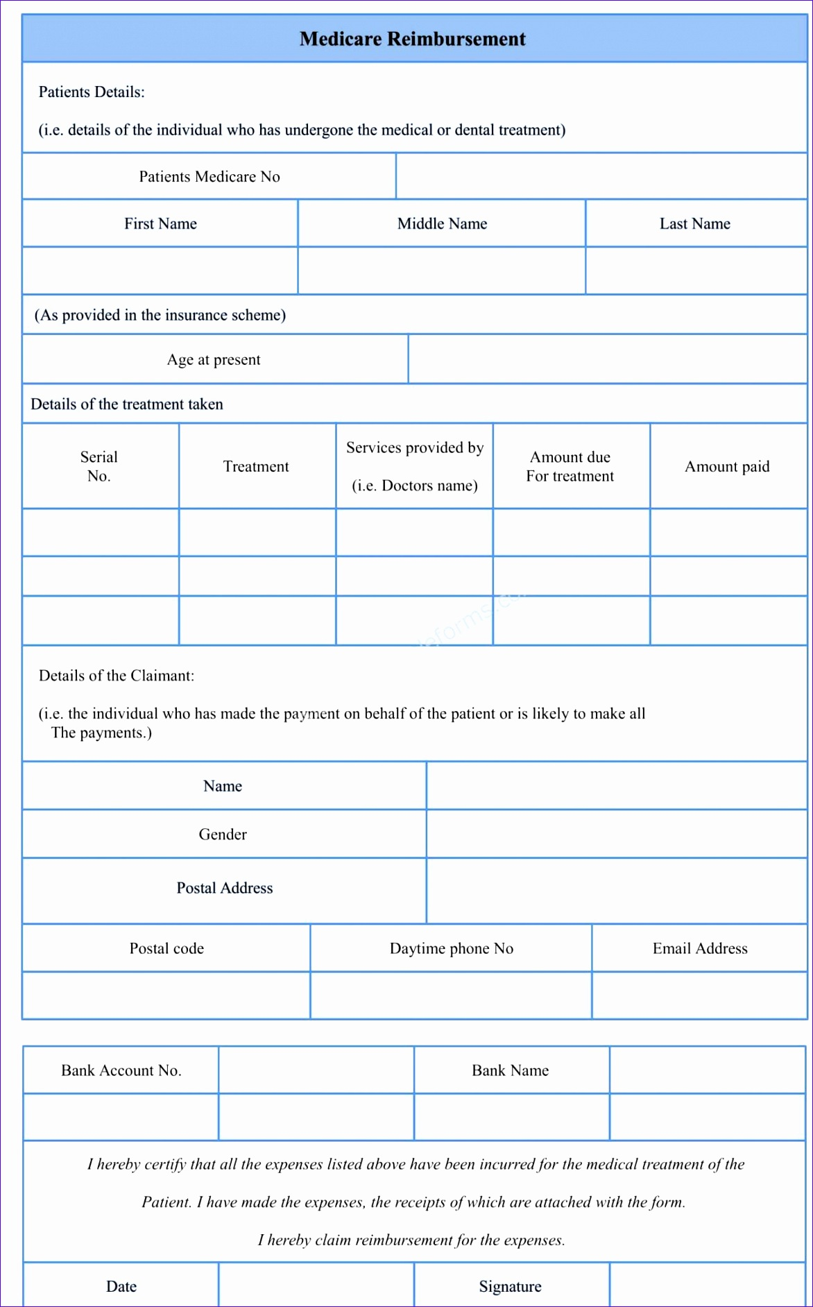 medicare reimburesement form sample