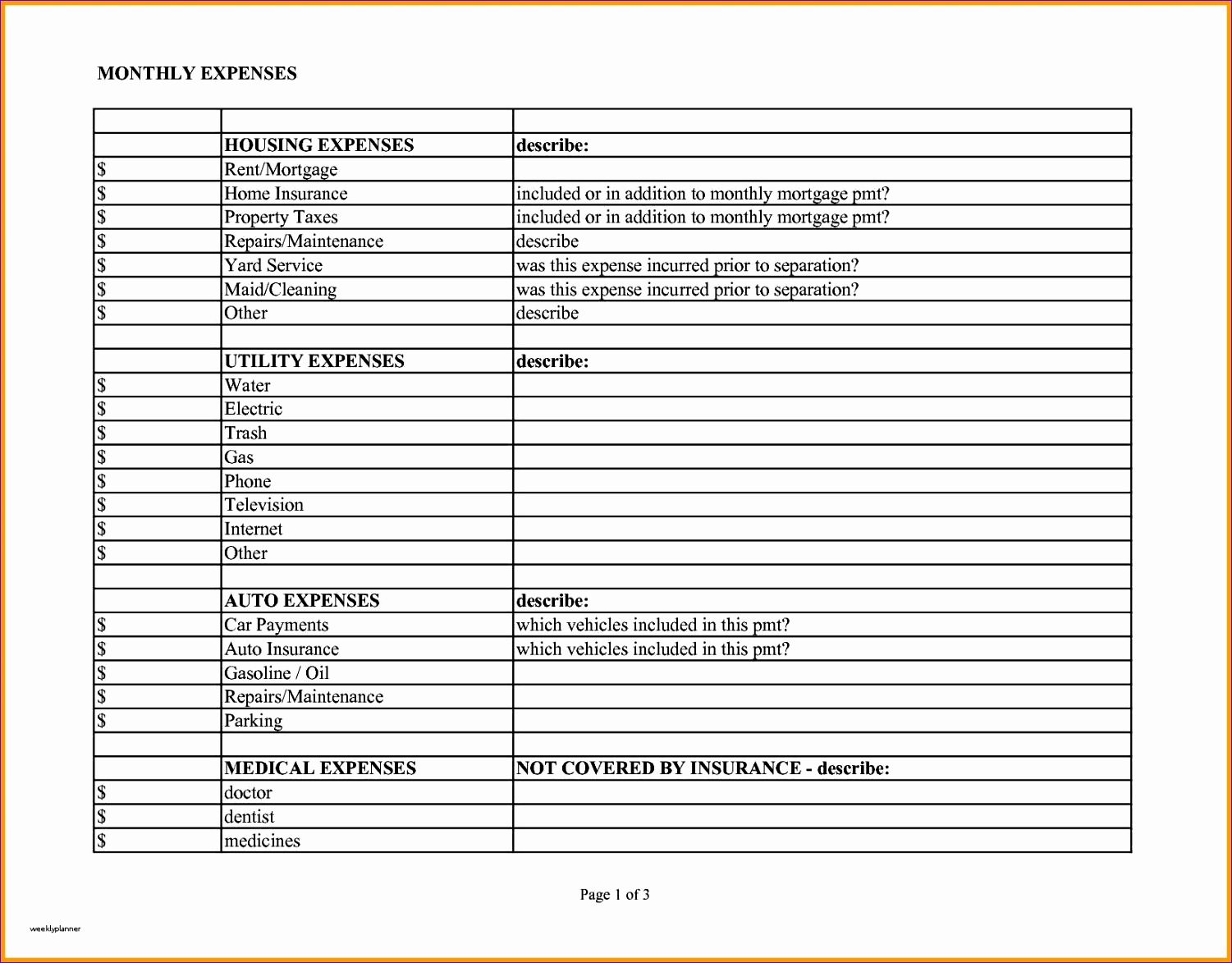monthly expenses template lovely business expense spreadsheet template free of monthly expenses template