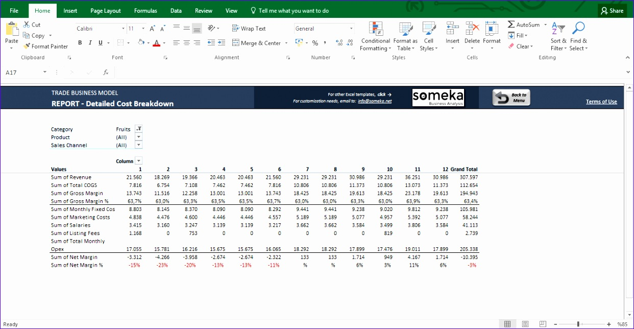 Trade Business Model Excel Template 10