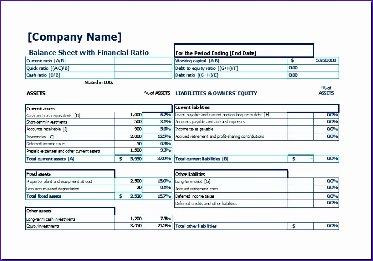 balance sheet with financial ratio